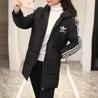 """Adidas"" Women Casual Fashion Stripe Zip Cardigan Hooded Long Sleeve Middle Long Section Cotton-padded Clothes Coat"