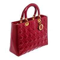 Christian Dior Red Quilted Cannage Leather Large Lady Dior Bag