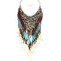 Beaded Bib Necklace Vintage Turquoise Blue Brown Strand Silver Tone n516