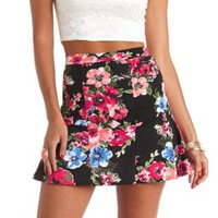 Floral Print Fluted Skater Skirt by Charlotte Russe - Black Combo