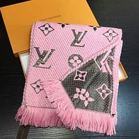 Supergirls22 LV Trending Fashion Women Embroider Easy to match Silk Scarf Pink Grey G-TMWJ-XDH