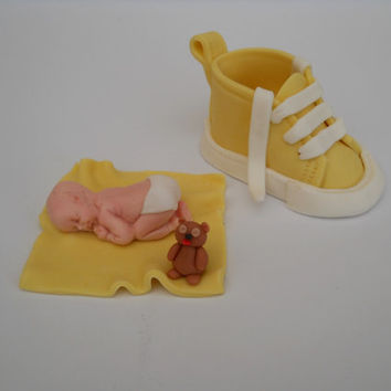 Fondant baby cake topper with fondant shoes cake topper, BABY SHOWER CAKE