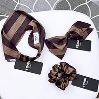 Fendi Stripe Series Hair Band Multilayer Hair Clip Hair Tie Twill satin fabric Coffee