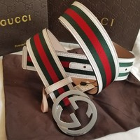 "New Gucci Belt Red Green White Stripes w/ Silver GG Buckle 32""-34"""