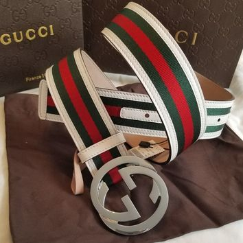 """New Gucci Belt Red Green White Stripes w/ Silver GG Buckle 32""""-34"""""""