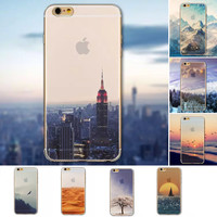 Beautiful City Mountain Ocean Transparent Case Cover For Apple iPhone 6 Case 4.7 PC 6 Series Crystal Hard Case For Phone