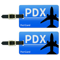 Portland OR PDX Airport Code Luggage Tag Set