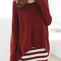 Red Asymmetric Long Sleeve Top and Striped Dress Set