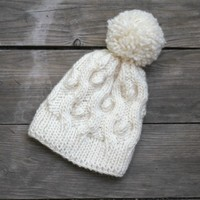 Knit beanie hat in white cream color with pom pom, winter accessories
