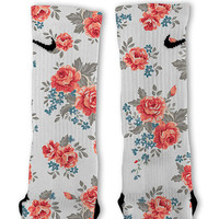 Floral White Customized Nike Elite Socks!!