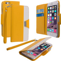 Yellow Wallet Magnetic Metal Flap Case Cover With Card Slots for Apple iPhone 6 Plus 6S Plus (5.5)