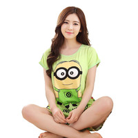Yellow Minions Pyjama Femme Coton 2017 Summer Women Pajama Sets Girls Monkey Milk Pijamas Mujer Sleepwear Sets Homewear