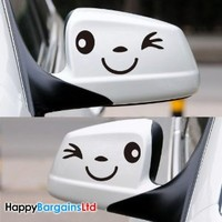Smile Face Wink Car Wing Door Mirror Stickers Decal Novelty Gift Birthday Xmas New 2013 For Any Car BMW VW Golf Ford Polo Etc... - Happy Bargains Ltd -Black