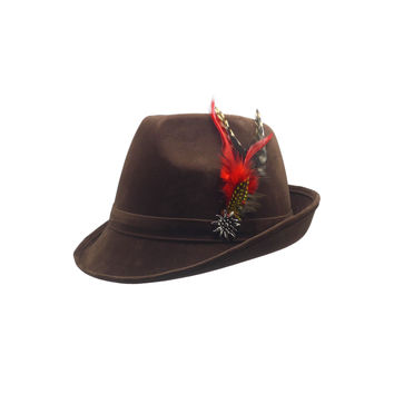 """""""German Hunter"""" Brown Hat Fedora And Edelweiss & Feathers"""
