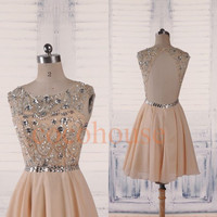 Champagne Beaded Short Prom Dresses 2015, Backless Formal Party Dresses, Hot Homecoming Dresses, Evening Dresses,New Bridesmaid Dresses