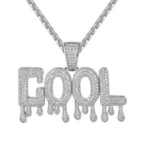 Men's Hip Hop Cool Drip Letter Designer Pendant Necklace