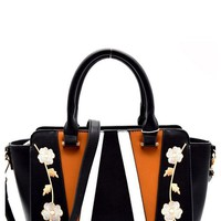 Floral Embroidered Wing Satchel Handbag