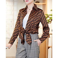 FENDI Trending Women Stylish F Letter Print Long Sleeve Lapel Top Shirt Coffee
