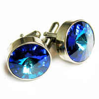 Vintage Sapphire Blue Cufflinks, Gift for Him - Boutons de Manchette. Vintage Jewelry by My Chouchou on Etsy.