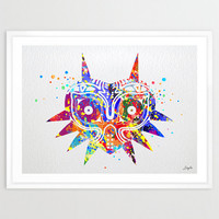 Majora's Mask inspired Legend of Zelda Watercolor Art Print,Wall Art Hanging,Home Decor,Boys Room Art,Motivational,Inspirational Art,No11