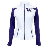 Washington Huskies NCAA Womens Yoga Jacket (White) (Large)