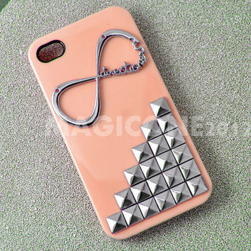 """Studded Iphone 4 case with One Direction """"Directioner"""" Infinity, Iphone Case, Iphone 4S case, Hard Iphone 4 Case"""