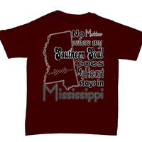 Southern Belle Funny Mississippi Southern Soul State Maroon Bright Girlie T-Shirt