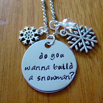 """Disney's """"Frozen"""" Inspired, Elsa """"Do you wanna build a snowman?"""", Charm Pendant. Silver colored, snowflake, for women or girls."""