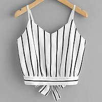 Striped Self-Tie Cropped Cami Shirt Top Tee