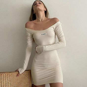 Slash Neck Letter Embroidered Mango Long Summer Dressed Without Simple Electric Backs Magro Bodycon Fitness Streetwear Outfits