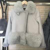 Brand Design Genuine suede leather Fur jackets women's Real fur coats .Luxury autumn winter real fox fur coats casual jacket
