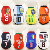 Sports Dog Vest Cat Shirt Pet Clothing Summer Cotton Sweatshirt Football Jerseys Dog Clothes For Small Medium Large Dogs XS-6XL