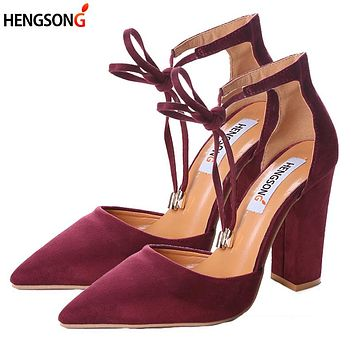 Women's Sandals Spring Autumn Flock Shoes Woman Ladies Pumps Sexy Thin Air Heels Footwear Women Shoes Lace Up