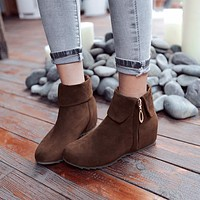 Lapel Flats Ankle Boots Side Zipper Wedge Heels 8905