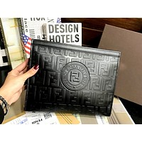 Wearwinds Fendi new retro double F letter embossed clutch bag envelope