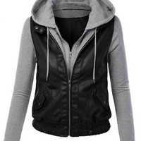 Faux Leather Paneled Hooded Zip-Up Jacket