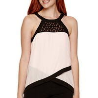 XOXO® Sleeveless Lace-Inset Halter Top - JCPenney