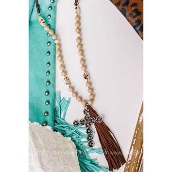 Gilded Rose Cross Matte Beaded Necklace with Cross Pendant & Leather Tassel