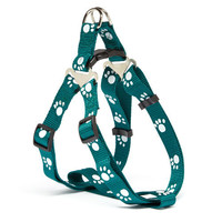 Iconic Pet Paw Print Adjustable Harness - Green - Small