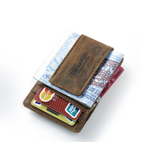 teemzone Free shipping Men Genuine Leather Wallet Business Casual Credit Card ID Holder Strong Magnet Money Clip 2 Colors K308