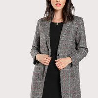 Plaid Boxy Coat -SheIn(Sheinside)