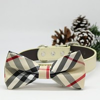 Dog Bow Tie Plaid Burly wood collar, Pet Gifts, Puppy lovers, Wedding, Pup Birthday Gifts