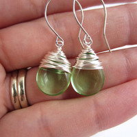 Peridot Green Wire Wrapped Earrings Dangle Earrings Silver Peridot Jewelry Birthstone Earrings August Gift for Her Women's Accessories