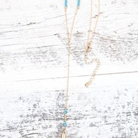 With Love From CA Turquoise Stone Y Necklace - Womens Jewelry - Gold - One