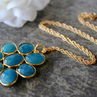 Large Blue Chalcedony Daisy Style Necklace, Statement Necklace, Apatite Blue Pendant, Gemstone Flower Pendant, Gold Vermeil
