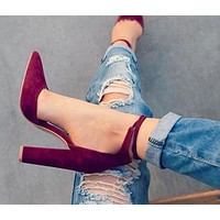 SUEDE STRAPPY PUMP WITH TIE FRONT