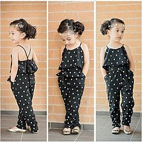 2016 Hot-Selling Baby Kids Girls One-piece Sleeveless Heart Dots Bib Playsuit Jumpsuit T-shirt Pants Outfit Clothes 2-7Y