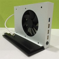 Vertical Stand and Cooling Fan for Xbox One S 4 Ports USB Hub for Xbox One