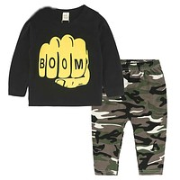 Baby Clothes born Infant Toddler Baby Boys Girls Fitted Clothes T-Shirts Tops + Camouflage Pants