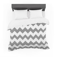 "KESS Original ""Candy Cane Gray"" Chevron Cotton Duvet"